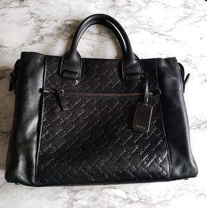 Tumi ticon black leather bag embossed logo satchel